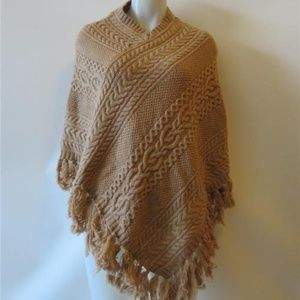 RALPH LAUREN TAN FRINGED  CABLE-KNIT PONCHO  OS